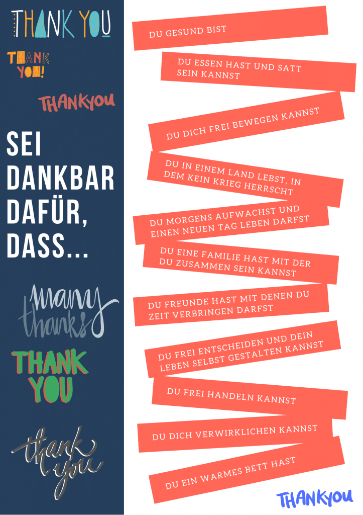 Dankbarkeit: Einige Beispiele, für die Du dankbar sein kannst